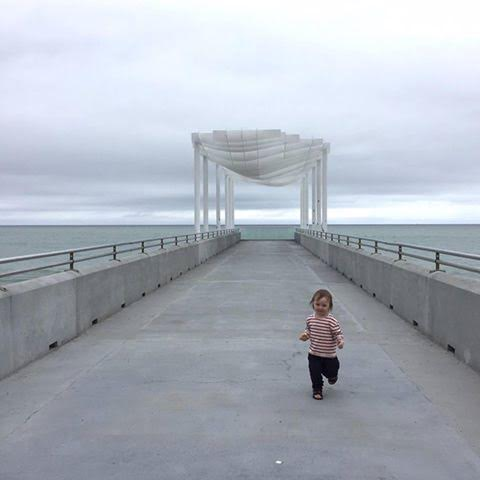 Napier Pier with toddler