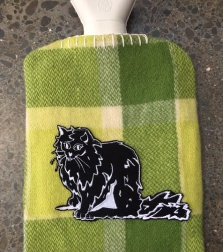Green with Cat Hot Water Bottle Cover