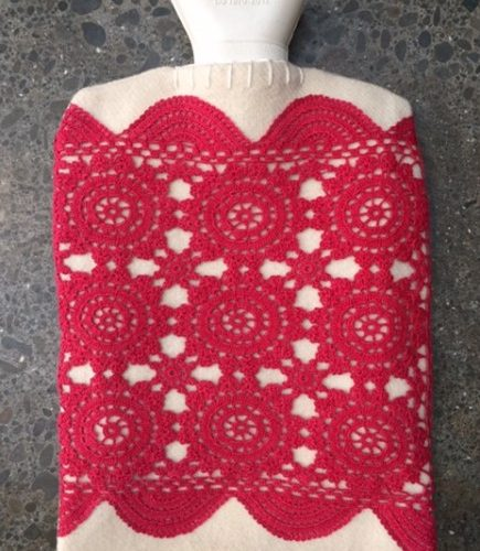 Red Doilie Hot Water Bottle Cover